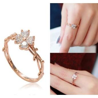 送料無料※金属アレ対応 韓国ファッション 四つの葉 クローバー CZ キュービック ジルコニア リング スワロフスキー リング 贈り物 可愛い 指輪 レディース