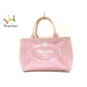 プラダ PRADA トートバッグ CANAPA 1BG439 ピンク×白 キャンバス            値下げ 20190609
