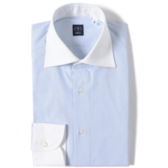 BEAMS F / エンドオンエンド クレリック ワイドカラーシャツ メンズ ドレスシャツ SAX/11 38