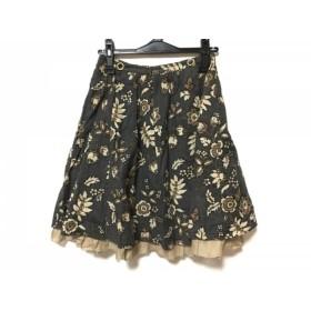 【中古】 ロイスクレヨン スカート サイズM レディース グレー ライトブラウン ブラウン 黒 花柄