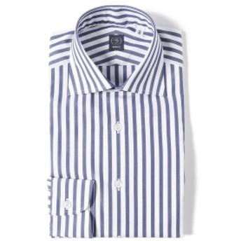 BEAMS F / ブロード ロンドンストライプ ワイドカラーシャツ メンズ ドレスシャツ NAVY/11 42