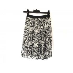 【中古】 ニジュウサンク 23区 スカート サイズ38 M レディース 白 黒 ライトグレー シースルー/花柄