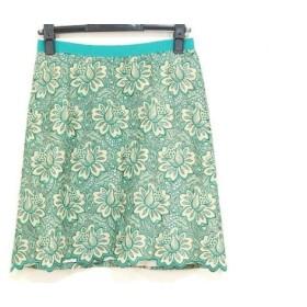 【中古】 サカイラック sacai luck スカート サイズ2 M レディース グリーン ベージュ 花柄/刺繍