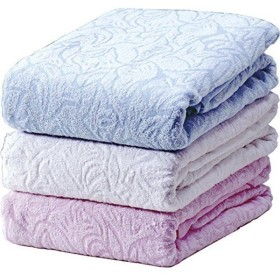 ワイド&ロング タオルシーツ 〔ブルー ピンク ホワイト 3色組 シングル〕 綿100% 洗える 〔ベッドルーム 寝室〕〔代引不可〕【配達日時指定不可】
