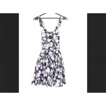 【中古】 メゾン ド リーファー ワンピース サイズ36 S レディース 黒 ピンク グリーン 花柄