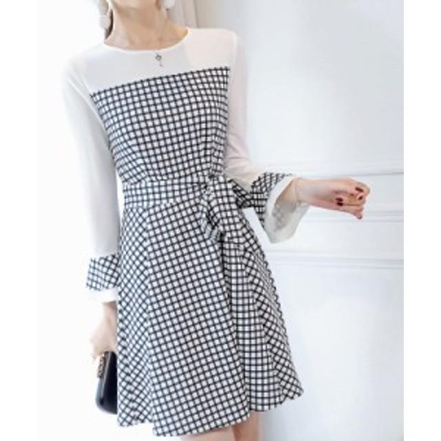 レディース    ワンピース    トレンド   チェック   カジュアル   韓国ファッション   人気   気質