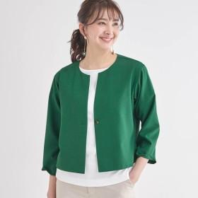 ジャケット レディース 40代 30代 日本製 おしゃれ きれいめ エレガント グリーン S M L LL