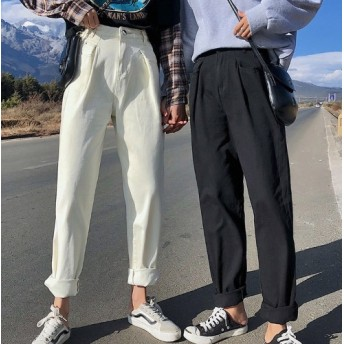 ハイウエスト ホワイトデニム 白デニム 白パンツ ベージュ デニムパンツ ジーンズレディース ゆったり ゆるカジ カジュアル ボーイッシュ スポーティー 韓国 オルチャン 韓国ファッション 新作