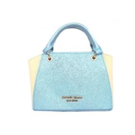 【中古】 サマンサタバサプチチョイス ハンドバッグ 美品 ライトブルー アイボリー ミニサイズ 合皮