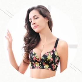 女性下着 ブラジャー 3/4カップ ショーツセット ノンワイヤー フラワー 刺繍 レディース 美胸 綺麗谷間 垂れ胸 脇高ブラ