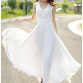 白・ホワイト★シフォン マキシワンピース リゾートワンピース リゾートドレス ビーチドレス  L ロングドレス