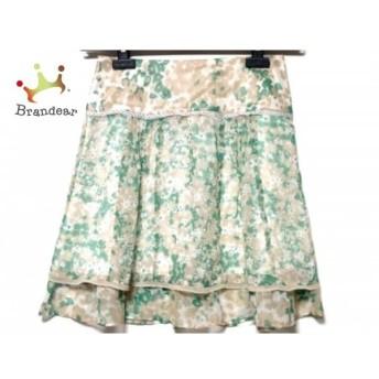 ジャスグリッティー スカート サイズ2 M レディース アイボリー×ベージュ×グリーン 花柄 スペシャル特価 20190803