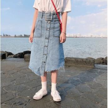 [55555SHOP] ★2019韓国のファッションの原宿風★デニム/スカート/女性/不規則/デニム/ハイウエスト/一つボタン/スカート