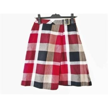 【中古】 ブルーレーベルクレストブリッジ スカート サイズ36 S レディース 白 黒 レッド チェック柄