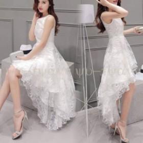 ワンピース パーティー ドレス 結婚式 ワンピース お呼ばれ ドレス 白ワンピース ロング パーティー フレア Aラインワンピー