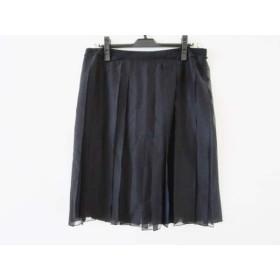 【中古】 サルバトーレフェラガモ スカート サイズ46 L レディース 黒 ネイビー プリーツ