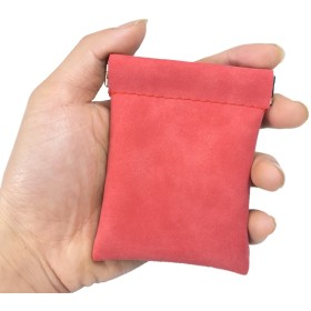 あると便利なパカっと開くスウェード素材小銭・小物入れ