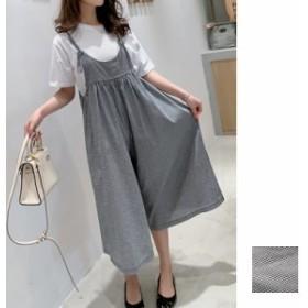 韓国 ファッション レディース セットアップ 夏 春 カジュアル naloE338 白Tシャツ チェック オーバーオール ギャザー スカンツ スカーチ