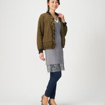 ジャケット・ブルゾン - Be mode Soobinie 表情豊かなフリルトリミング中わたMA-1 アウター 羽織り ジャケット ブルゾン ミリタリー ネイビー カーキミセス テレビ通販 大きいサイズ ノーカラー レディース 大人可愛い