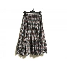 【中古】 ロックマウント ロングスカート サイズS レディース ベージュ グリーン マルチ チェック柄