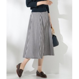 J.PRESS / ジェイプレス 【洗える】フェイクリネンギンガム スカート