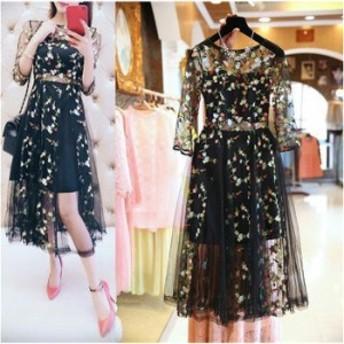ワンピース ドレス パーティードレス おしゃれ フォーマル  七分袖 レース シースルー 花柄 刺繍 オーガンジー ブラック 10
