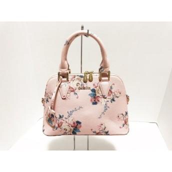 【中古】 ダズリン DAZZLIN ハンドバッグ 美品 ピンク グリーン マルチ 花柄 PVC(塩化ビニール)