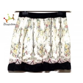 マニアニエンナ MANIANIENNA スカート サイズF レディース 白×黒×マルチ 花柄     スペシャル特価 20190730