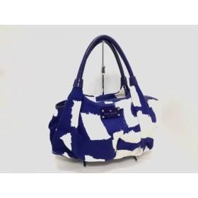 【中古】 ケイトスペード Kate spade ハンドバッグ PXRU3693 ブルー 白 キャンバス エナメル(レザー)