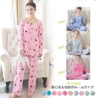 パジャマ ルームウェア レディース 春夏 シャツパジャマ 長袖 韓国風 花柄 上下セット 部屋着 寝巻き女性 可愛い