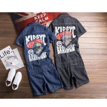 ショートパンツ メンズ レディース 半袖 ごカップル デニムパンツ つなぎ オールインワン オーバーオール カーゴパンツ デニム 男女