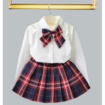 キッズ セットアップ シャツ スカート 2点セット 子供服フォーマル 女の子 ベビー リボン 入園式 卒園式 発表会 90-130cm