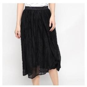 グリーンパークス Green Parks outlet ストライプレースギャザースカート (ブラック)