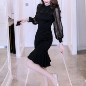 パーティードレス マーメイド ワンピース 長袖 黒 ブラック 透け感 大きいサイズ 結婚式 お呼ばれ ドレス 二次会 上品 フォーマル