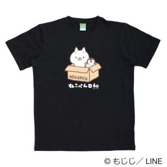 【ネット限定!イオンオリジナル柄】LINE CREATORS ねこぺん日和 Tシャツ(メンズ) クロ