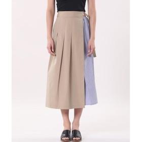 Maison de Beige メゾン ド ベージュ ストライプ切り替えラップスカート