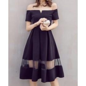 黒★オフショル ワンピース 肩出し ワンピ ブラック M フォーマル パーティ ドレス