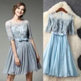 レース 切替 シースルー 刺繍 ウエストリボン 結婚式 ドレス 全2色 E-079