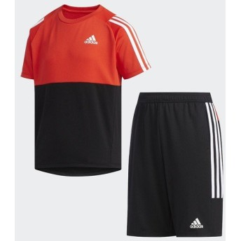 (セール)adidas(アディダス)ジュニアスポーツウェア Tシャツ B CLIMALITE Tシャツ上下セット FTJ70 DU9809 ボーイズ アクティブレッドS19/ブラック