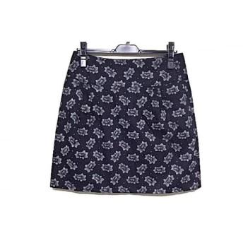 【中古】 アニエスベー agnes b スカート サイズ38 M レディース 黒 白 花柄