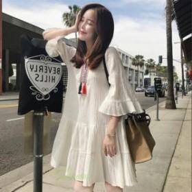 2019夏 シフォンワンピース ミニワンピース レディース白 7分袖 新品 可愛い 着痩せ Aライン フレアトップス 大人 上品