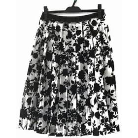 【中古】 ニジュウサンク 23区 スカート サイズ38 M レディース 黒 白 花柄