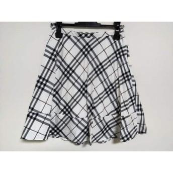 【中古】 バーバリーブルーレーベル スカート サイズ36 S レディース 白 グレー マルチ プリーツ