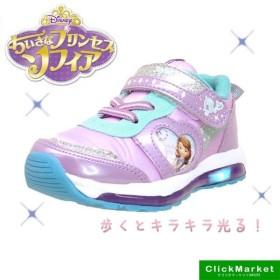 ディズニー DISNEY 小さなプリンセス ソフィア 7104 紫 光るスニーカー 運動靴 ベルクロ マジックベルト キッズ