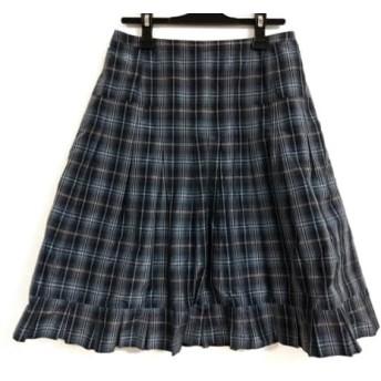 【中古】 レリアン スカート サイズ9 M レディース ダークグレー ダークネイビー マルチ チェック柄
