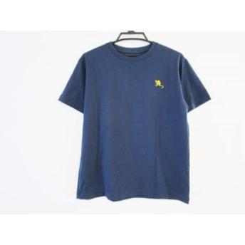 【中古】 ノースフェイス THE NORTH FACE 半袖Tシャツ サイズM メンズ ネイビー イエロー