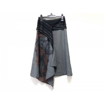 【中古】 ヨーカン YOKANG 巻きスカート レディース グレー 黒 ブラウン