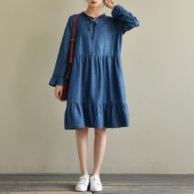 ワンピース レディース 『上品』『正品』 長袖 ドット柄 綿 フレア 大きいサイズ 大人カジュアル 黒 40代 ファッション 50代