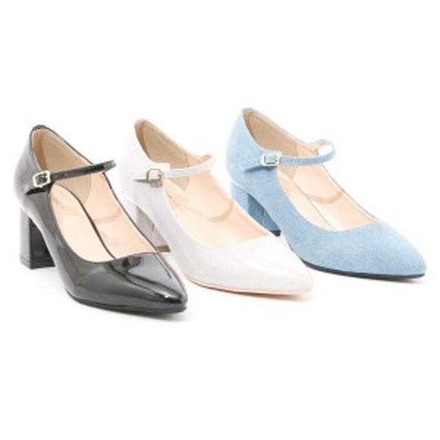 パンプス レディースシューズ レディースファッション 靴 春夏 アンクルストラップ付 チャンキーヒールパンプス ポインテッド 歩きやすい