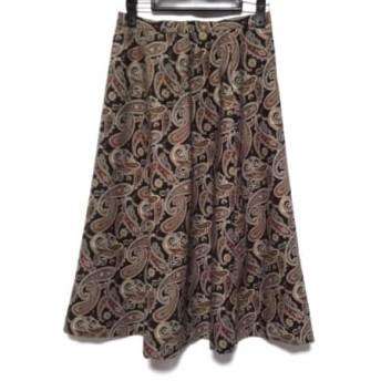 【中古】 バーバリーズ Burberry's スカート レディース 黒 ダークブラウン マルチ
